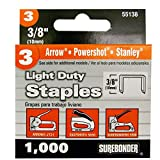 Light Duty, Chisel Point, 3/8'' Arrow JT21 Type Staple, 1000/Box, 5 Pack