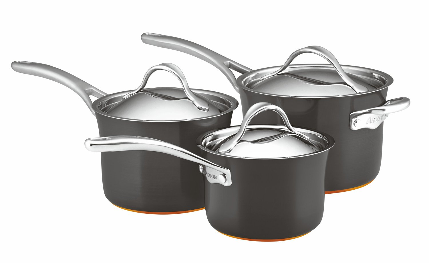 Anolon Nouvelle Copper 3 piece saucepan set