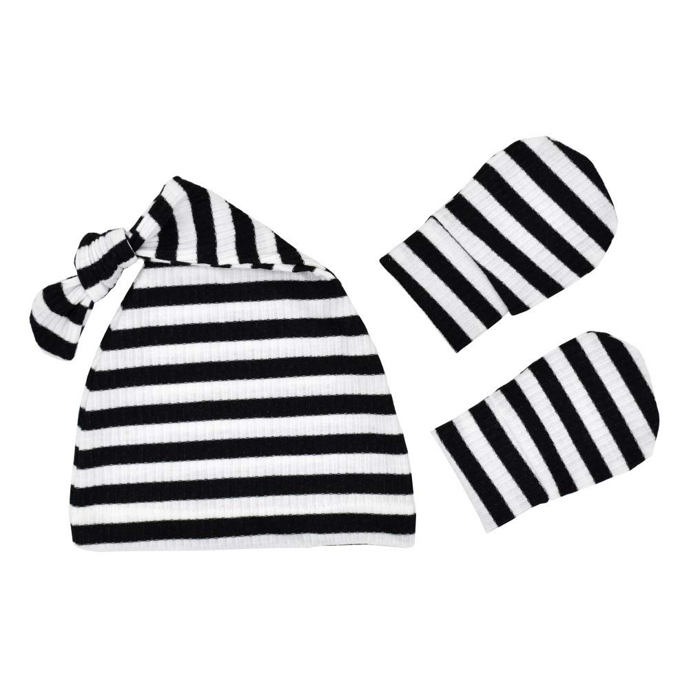 Organic Cotton Baby Knotted Cap Newborn Hats for Boys and Girls Infant Hospital Caps TIANNUOFA Baby Beanie 2 Pack Stripe Warm Earflap Kids Caps Soft Baby Hat Mitten Set for Toddler