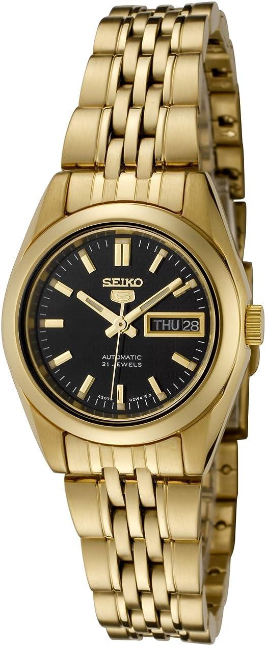 Amazon Com Seiko Women S Syma40k Seiko 5 Automatic Black Dial Gold Tone Stainless Steel Watch Seiko Watches