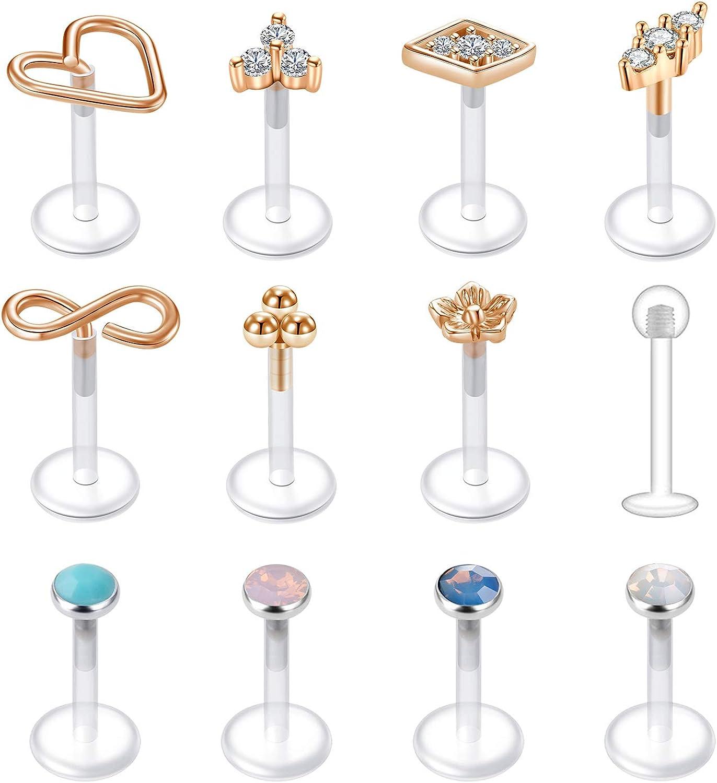 AceFun 16G Clear Tragus Studs Labret Lip Studs Cartilage Helix Earrings CZ Gem Monroe Lip Ring Earring Stud Piercing Jewelry 6MM 8MM
