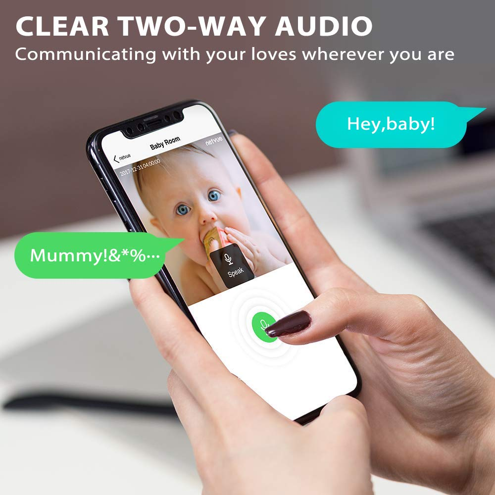 Pet Monitor Compatible with Alexa Echo Show Netvue 720P Home Camera 2 Way Audio and Night Vision 720P Orbcam White Baby Camera with Cloud Storage Motion Tracker Pet Camera