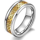 8mm Tungsten Carbide Celtic Knot Gold Dragon over Gold Inlay Wedding Band Ring For Men Or Ladies