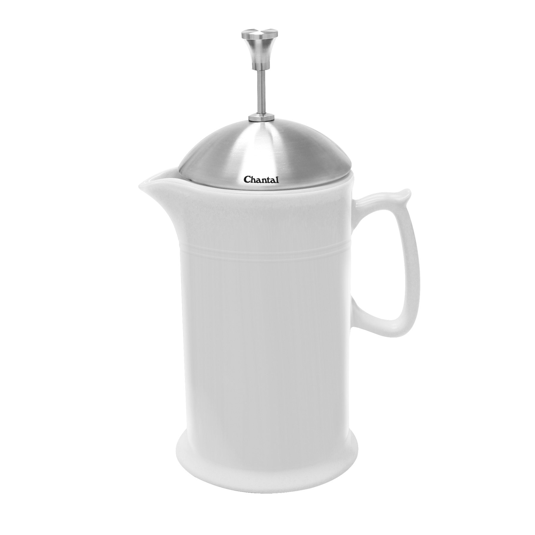 Chantal 92-FP28 SW Ceramic French Press with Stainless Steel Plunger/Lid, White