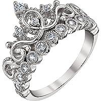Guliette Verona Rhodium-plated Sterling Silver Princess Crown Ring