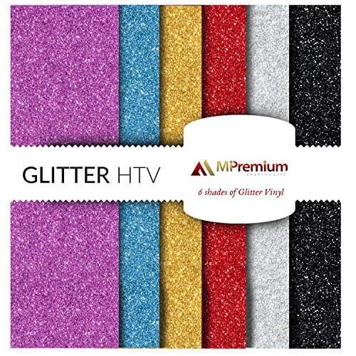 MiPremium Glitter Heat Transfer Vinyl, HTV Iron On Vinyl Sheets of 6 Most Popular Colors Starter BUNDLE for T Shirts Sports Clothing, garments & fabrics, Easy Cut, Weed & Press htv vinyl (Multicolor) (Shirt Making Machine)