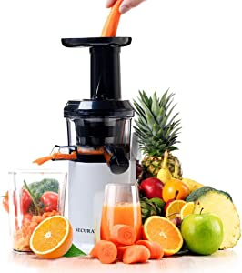 Secura Slow Masticating Juicer Low Speed Big Mouth' Cold Press for High Nutrient Fruit and Veggies Juice, White