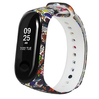 Fossrn Correa para Xiaomi MI Banda 3 Patrón de Color Silicona Pulsera para Relojes Banda para