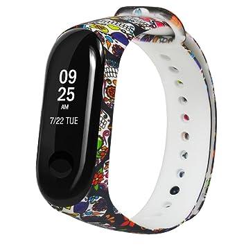 Fossrn Correa para Xiaomi MI Banda 3 Patrón de Color Silicona Pulsera para Relojes Banda para Xiaomi Mi Band 3 (B): Amazon.es: Deportes y aire libre