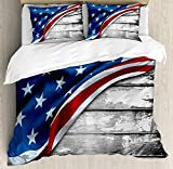 American Flag 4 Pieces Bedding Set Twin, Close Up Design Flag over Antique Rustic Rippled Board Federal Country Art, Duvet Cover Set Decorative Bedspread for Childrens/Kids/Teens/Adults, Grey Navy