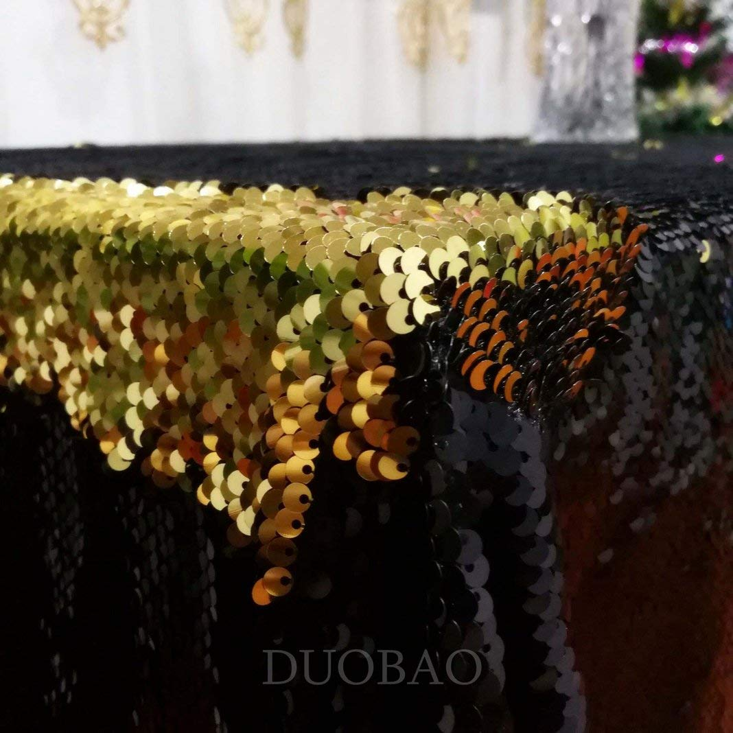 DUOBAO Sequin Tablecloth 60x84-Inch Gold Mermaid Sequin Fabric Black to Gold Glitter Tablecloth Reversible tablecloths for Rectangle Tables~0516 by DUOBAO (Image #4)