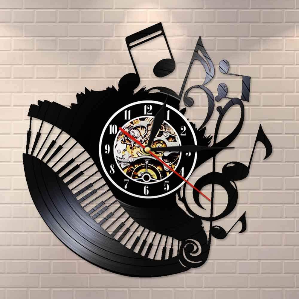 BFMBCHDJ Piano Room Music Notes Vinyl Record Clock Musician Pianist Teacher Sign Wall Art Vinyl Clock Me encanta la música Reloj Reloj No LED 12 pulgadas