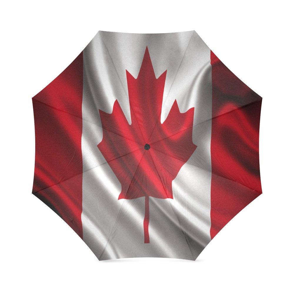 カスタムCanada National Flagコンパクト旅行防風防雨折りたたみ式傘 B075WDQT15