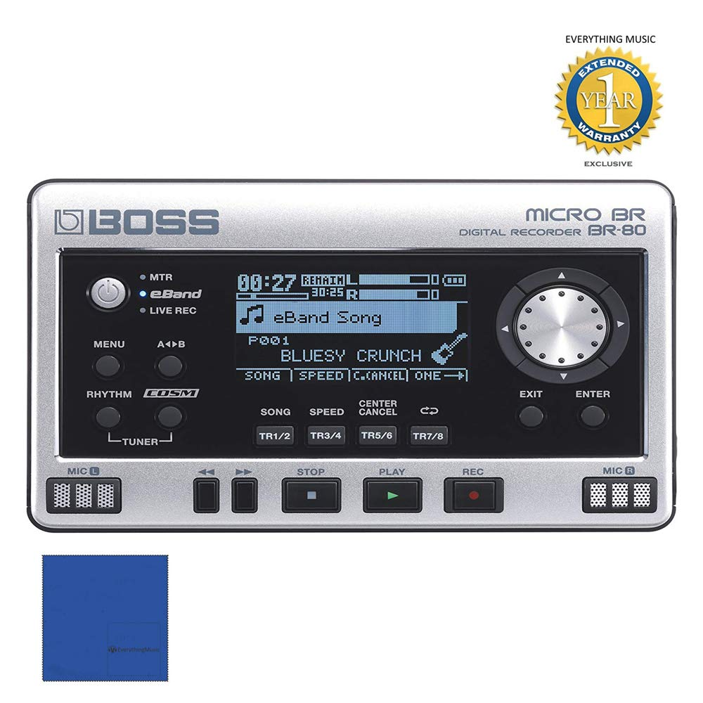 Boss MICRO BR BR-80 8-Track Digital Recorder with Microfiber and 1 Year Everything Music Extended Warranty