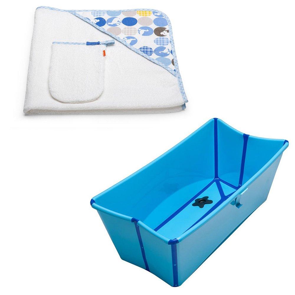 Amazon.com: Stokke Flexi Bath w Stokke Hooded Towel, Silhouette Blue ...