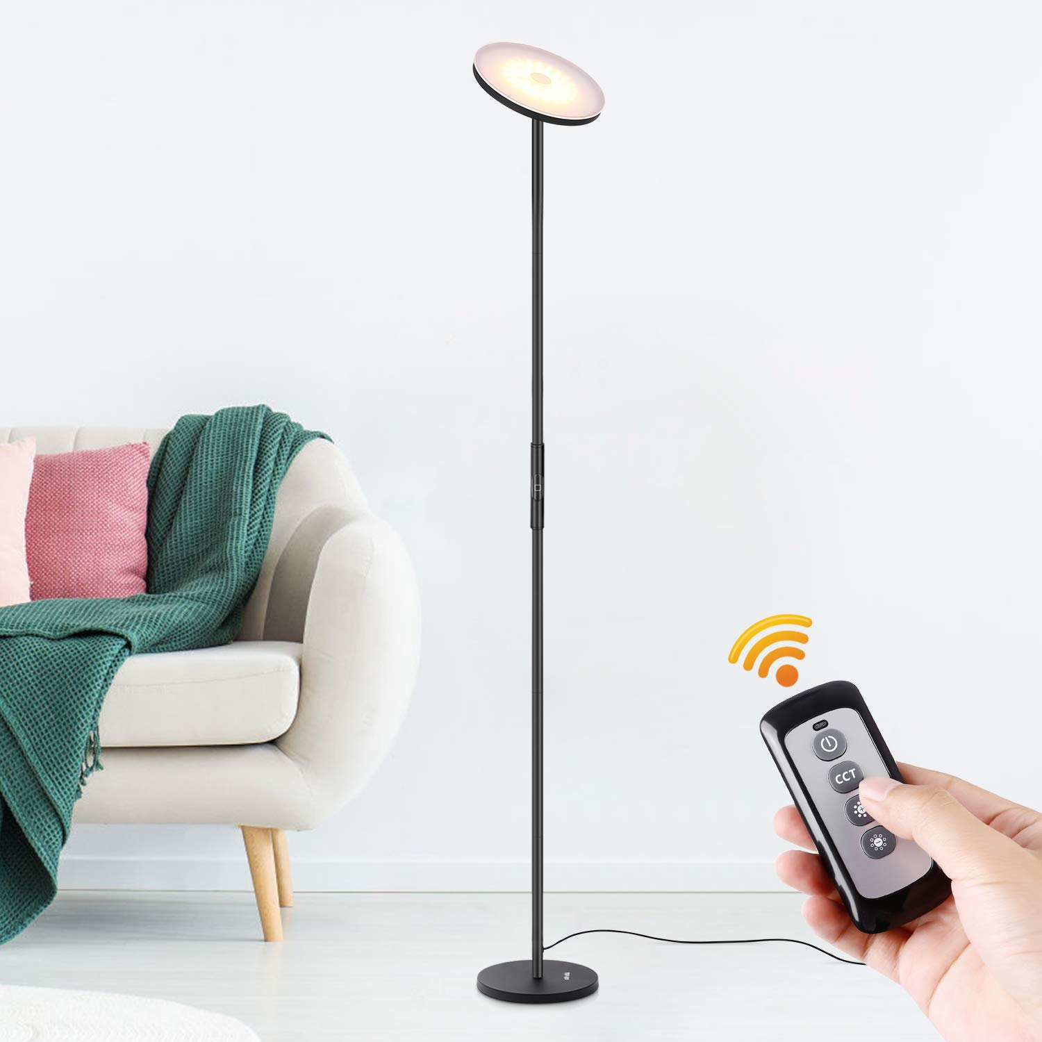 Albrillo LED Torchiere Floor Lamp with Remote and Touch Control, Dimmable Standing Uplight Lamp for Living Room Bedroom Office Reading, Black by Albrillo