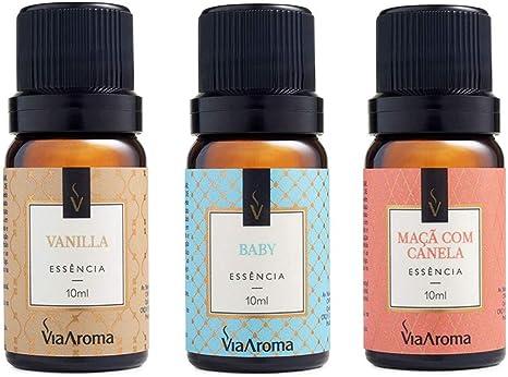 Kit 3 Essências Via Aroma De Aromatizador Aromaterapia 10ml - Baby, Vanilla e Maça Canela