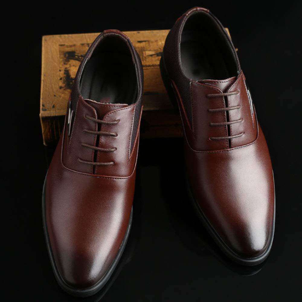 Mann-beiläufige Geschäfts-Schuh-Spitze-Leder Lace-up Beschuht Art und Weise Lace-up Geschäfts-Schuh-Spitze-Leder Braun 0939b6