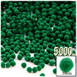 The Crafts Outlet Pom Poms, solid Color, 5mm/0.20-inch, 5000-pc, Emerald Green