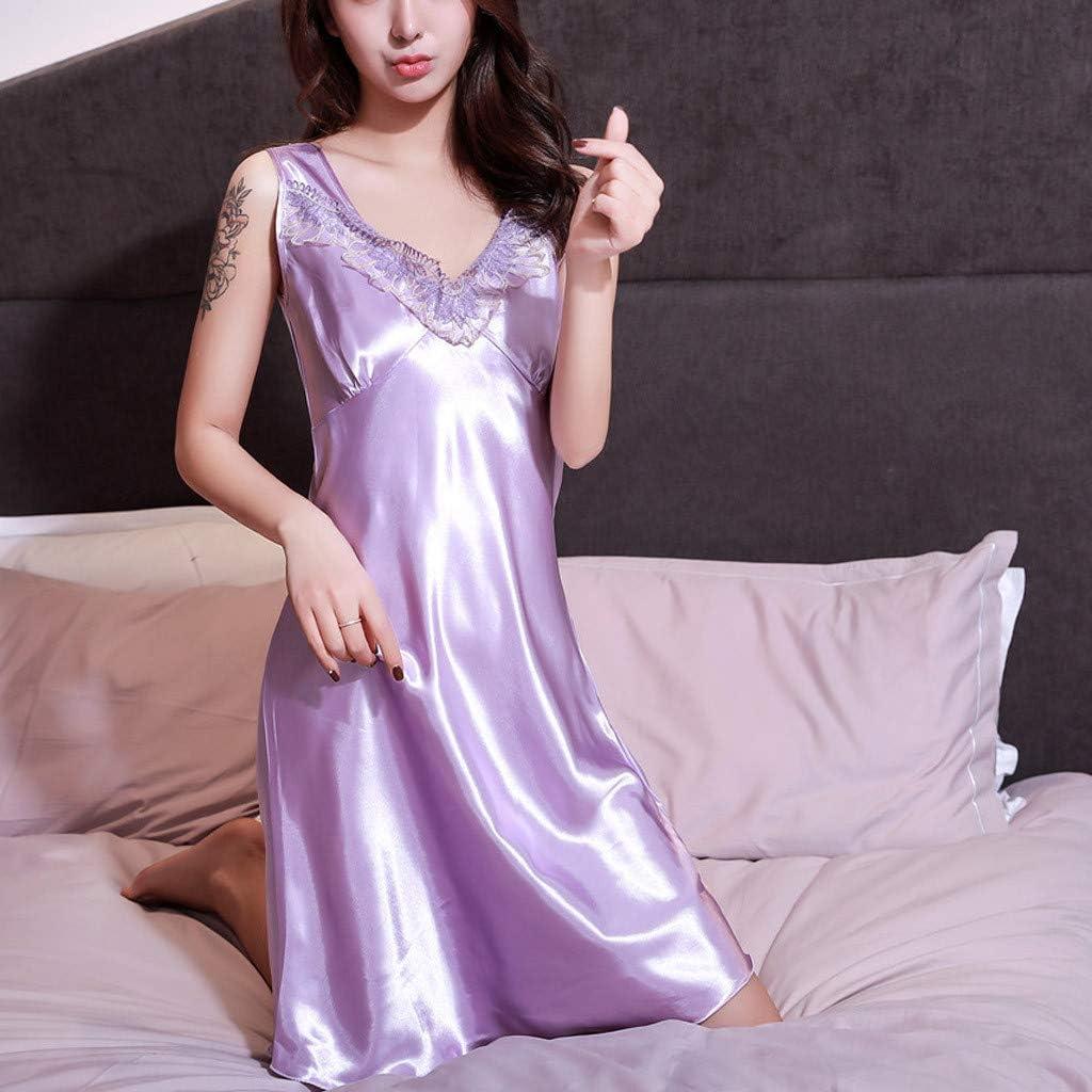 Women Lingerie Bodysuit Satin Pajamas Lace Deep V-Neck Halter One Piece Sleepwear Shorts Romper