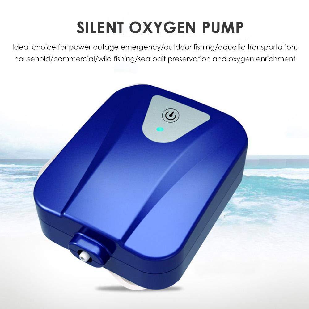2L//min Oxygen Pump With Air Stone-Blue HAMKAW Solar Aquarium Air Pump AC//DC Rechargeable Oxygenator Water Air Pump For Fish Tank Pond Aerator