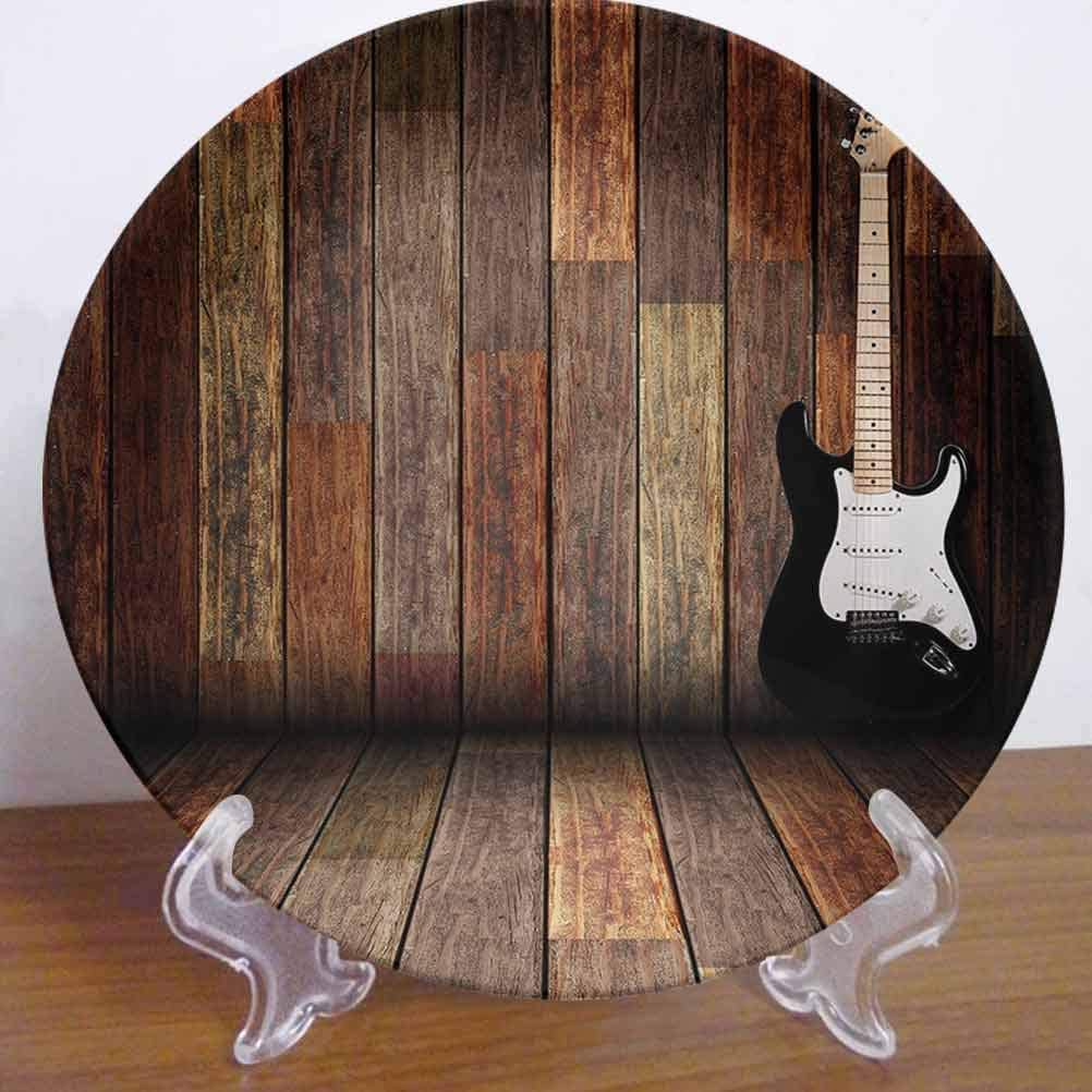 """6"""" Popstar Party Ceramic Dinner Plate Electric Guitar in The Wooden Room Country House Interior Music Theme Decor Accessory for Dining Table Tabletop Home Decor"""