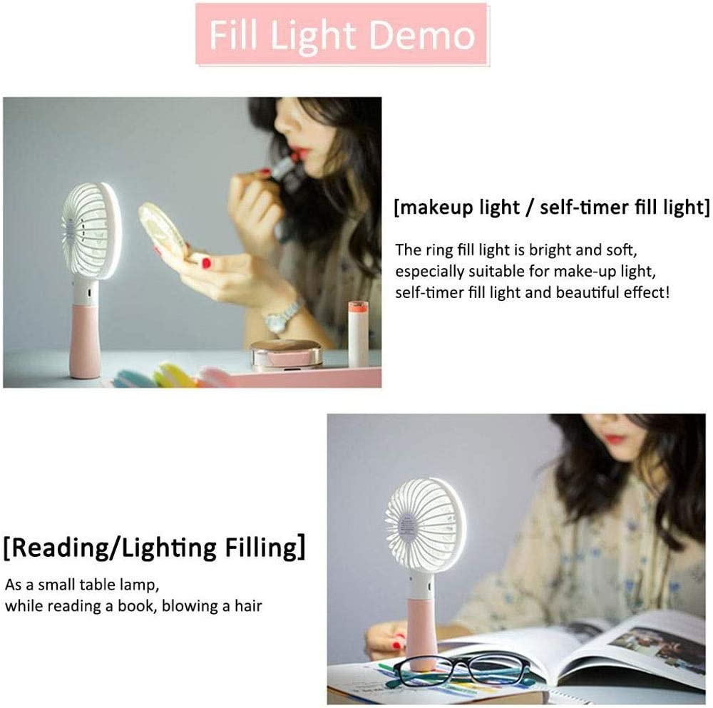 Color : Blue LLAMN Mini Handheld Fan Small USB Personal Portable Desk Table Fan Rechargeable Battery Operated Folding Travel Fan for Desk Camping Sleeping Laptop Office Room Outdoor