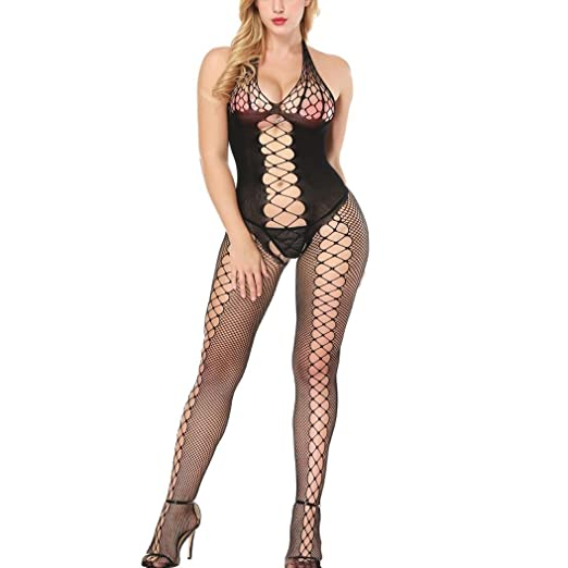 270d0bb903 Fishnet Bodystocking Women Sexy Halterneck Lingerie Crotchless Bodysuit  Babydoll (Black