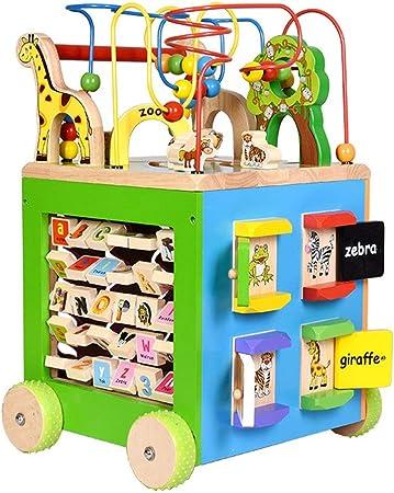 Niños de juguete interactivo, Actividad jardín Cubo, Madera, Clasificador de color, grano del laberinto y la cuenta del juguete del bebé for principios de aprendizaje y desarrollo for los niños Juguet: Amazon.es:
