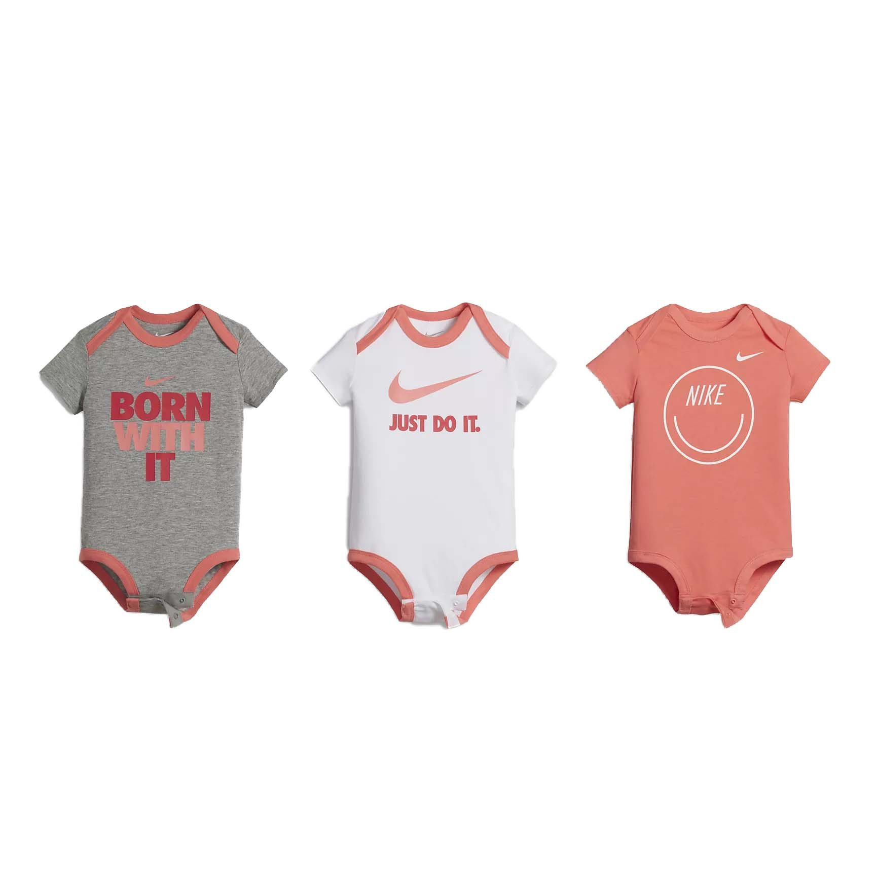 be2d6908ab Galleon - Nike Swoosh Three-Piece Infant Baby Bodysuit Set (3-6 Months,  Coral/Multi)