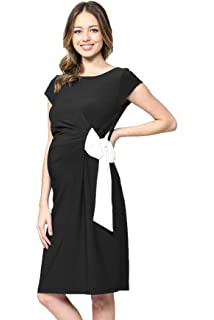 9c26391fe911a LaClef Women's Knee Length Midi Maternity Dress with Front Pleat at ...