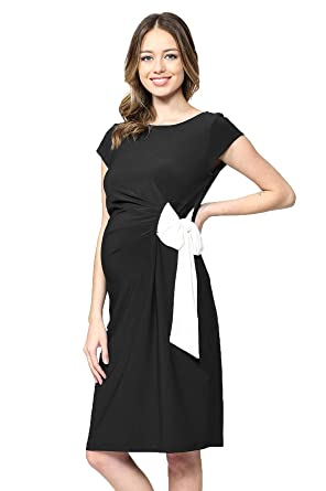 67c3a40e94a LaClef Women s Cap Sleeve Maternity Dress with Adjustable Side Tie (Black  Solid White