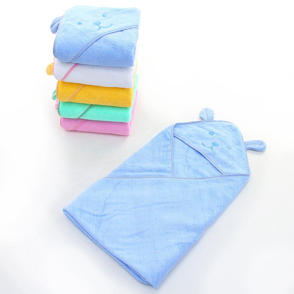 BLUESTAR bebé toalla de baño albornoz, con capucha algodón suave toalla de baño para bebé, 100% algodón, 100 cm x 100 cm amarillo: Amazon.es: Bebé