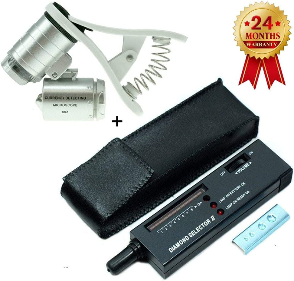High Accuracy Diamond Tester+60X Clip-On Microscope Magnifier Professional Jeweler for Novice and Expert - Diamond Selector II 9V Battery Included