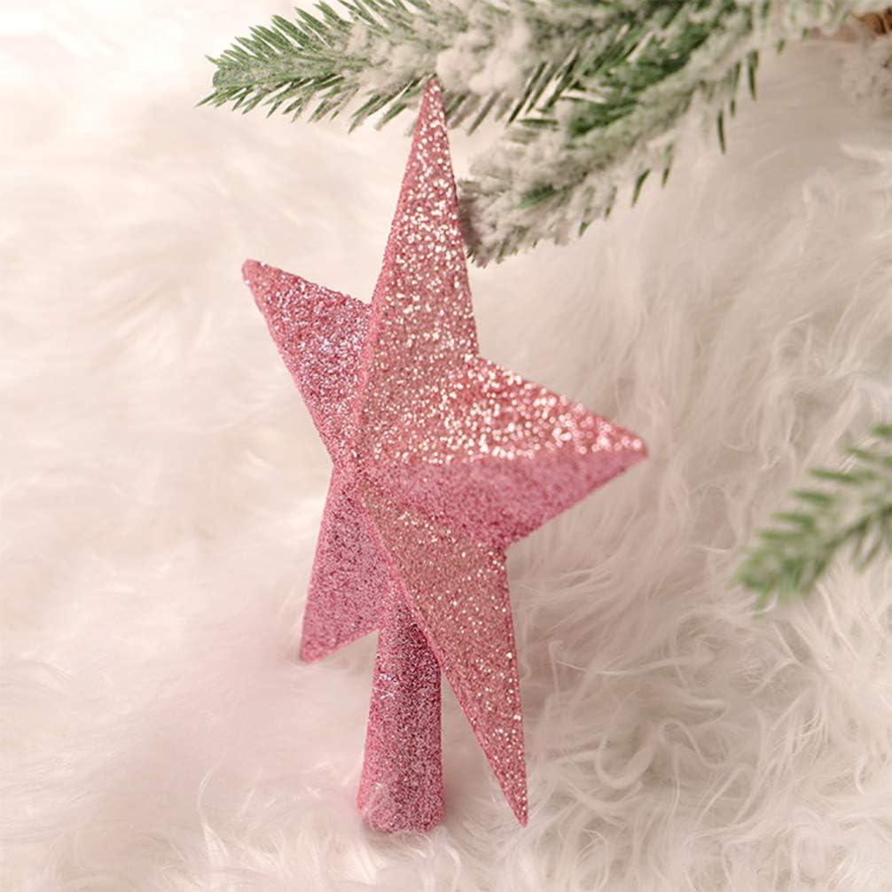 Amosfun 20cm Christmas Tree Star Topper Xmas Tree Topper Star Christmas Decoration Glitter Christmas Tree Ornament Red