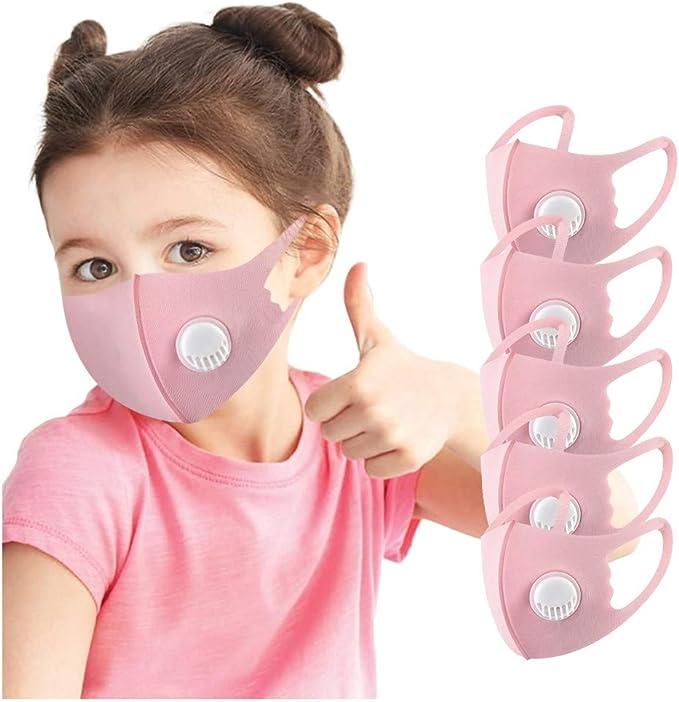 EnJoCho 5/10PCS Children Kids Reusable Breathable Facemask Reusable Breathing Valve Face Bandanas