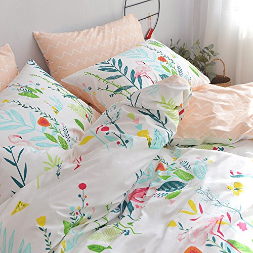 HIGHBUY Cotton Full Comforter Cover for Kids Girls White Peach Floral Flamingo Leave Printing Reversible Fresh Design Queen Bedding Sets for Children Boys with Chevron Stripe Pattern,Zipper Closure by HIGHBUY (Image #4)