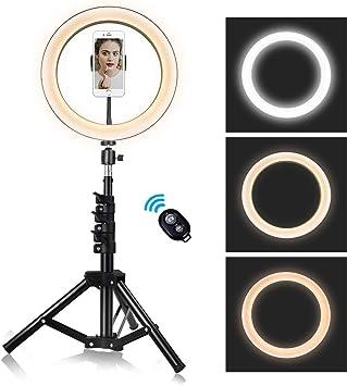 HULYZLB Fill LightLED Ring Light 10in with Tripod Stand for YouTube Video 2 Phone Holder//Bi-Color 3000K-5500K Makeup Light