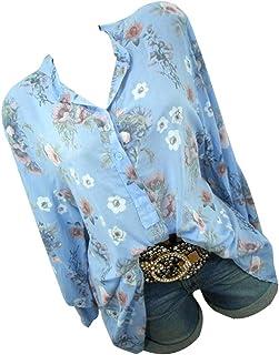 Kingwo Femme Col Montant Bouton Impression Grande Taille Top t-Shirt Ample Chemise lâche décontractée à Manches Longues