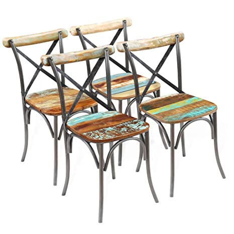 Swell Amazon Com Vintage Industrial Dining Chairs 4 Pcs Retro Alphanode Cool Chair Designs And Ideas Alphanodeonline