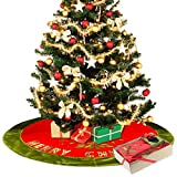 "Image of Christmas Tree Skirt of Sujonna 48"" for Christmas Decorations With Exquisite Box Packaging - Pretty Holiday Dress with 20"" Length Omanments Christmas Stockings - Xmas Tree Decorations Red Skirt"