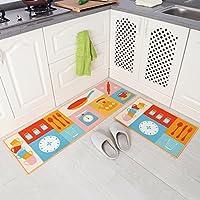 Carvapet 2 Piece Non-Slip Kitchen Mat Rubber Backing Doormat Runner Rug Set, Cartoon Kitchen Design (Multi 15x47+15x23)