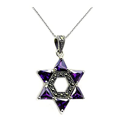Amazon jewish star of david sterling silver purple cubic jewish star of david sterling silver purple cubic zirconia marcasite pendant necklace aloadofball Images