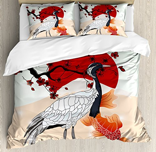 Lunarable Koi Fish Duvet Cover Set, Japanese Culture Inspired Crane and Sea Animals with Sakura Branch Artwork, Decorative 3 Piece Bedding Set with 2 Pillow Shams, Queen Size, Ruby White