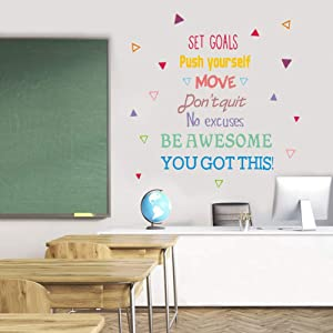 IARTTOP Colorful Inspirational Quote Wall Decal, Motivational Saying You Got This Be Awesome Sticker for Classroom Study Room Bedroom Decor