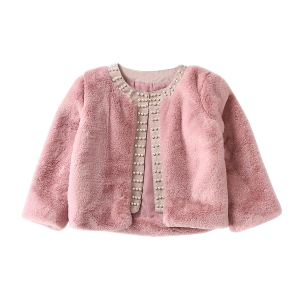 HOMEBABY Kids Baby Girls Winter Faux Fur Coat, Toddler Baby Warm Baby Clothes Girls Soft Jacket Fluffy Thick Coat Cardigan Outwear For 3-7 Years
