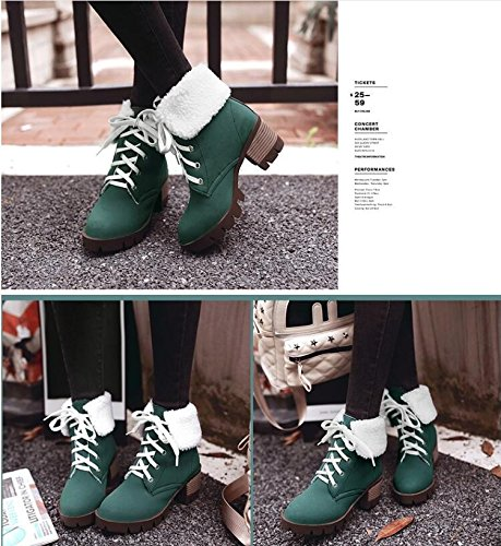 with waterproof strap student Head shoes and large ZQ Taiwan QXAutumn Green boots of a barrel and high Round female Winter thick short heeled number boots ground q8HXwPXU