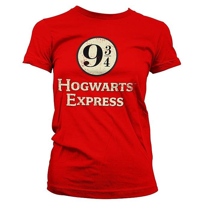 HARRY POTTER Oficialmente Licenciado Hogwarts Express Platform 9-3/4 Mujer Camiseta: Amazon.es: Ropa y accesorios