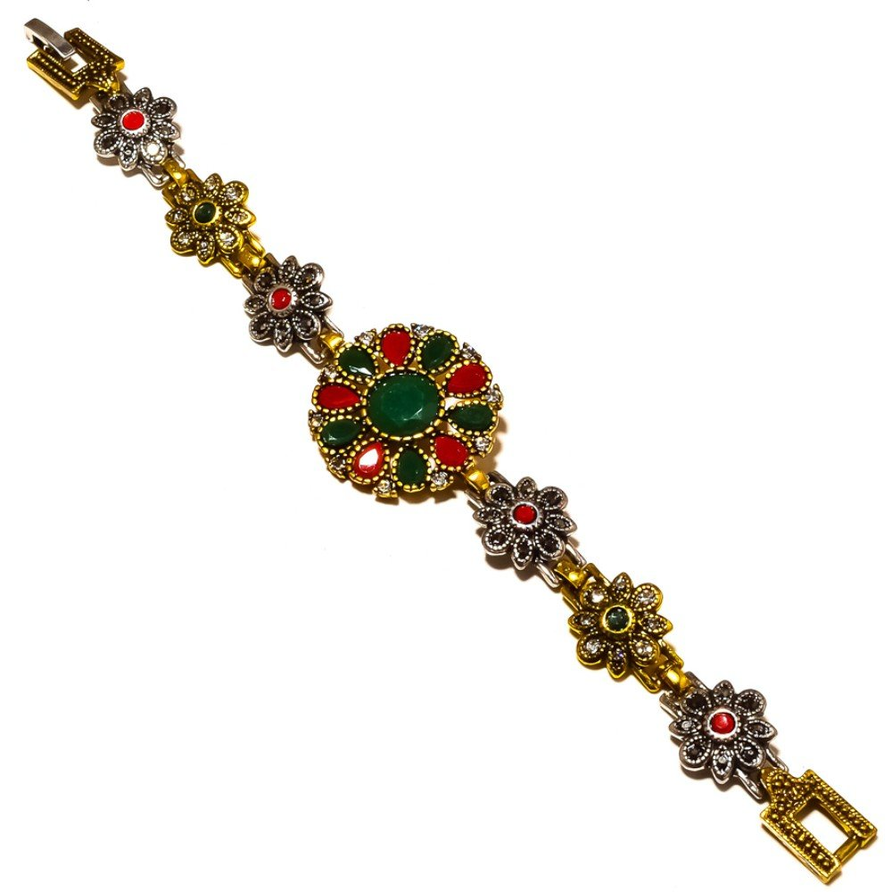 Turkish Style Handmade Jewelry Dyed Emerald Dyed Ruby Silver Plated-Brass Bracelet 7-9