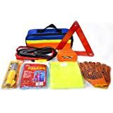 Roadside Assistance Car Auto Emergency Tool Kits with Jumper Cables, Tow Rope, Emergency Triangle, Flashlight, Safety Hammer